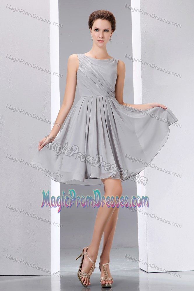 Fitted Chiffon Gray Bateau Prom Gown Dress Under 100 for Ladies