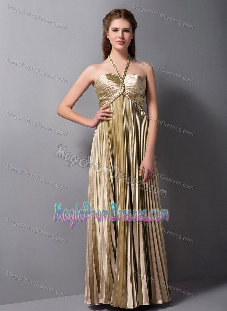 Halter Top Semi Formal Prom Dress In Brown With Pleats In Gold Coast