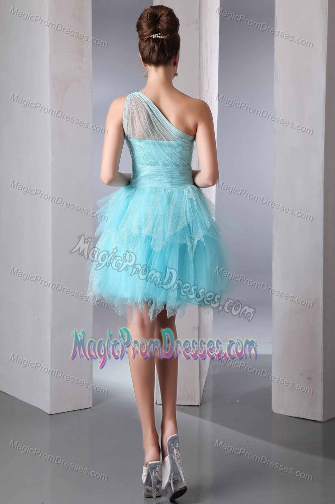 Lovely One Shoulder Mini Aqua Blue Junior Prom Dress for Summer 2014