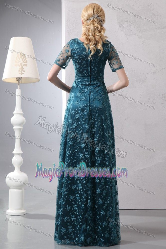 Teal Short Sleeves Empire Floor-length Prom Dress with Appliques on Lace in Atmore