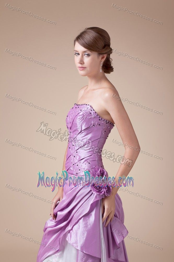 Latest Flower Decorate Prom Dress for Slim Girls with Embroidery