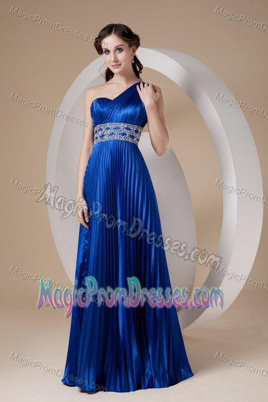 Pleated Beaded Royal Blue Formal Prom Dress One Shoulder in Bismarck ND