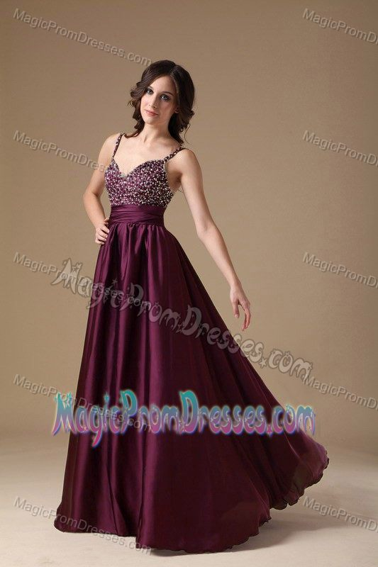 Straps Beaded Dark Purple Long Prom Attire in North Dakota USA