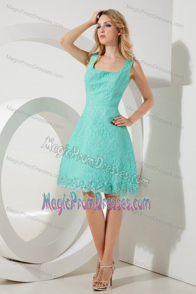 Turquoise Mini-length Semi-formal Prom Dresses with Lace in Blue Mountains