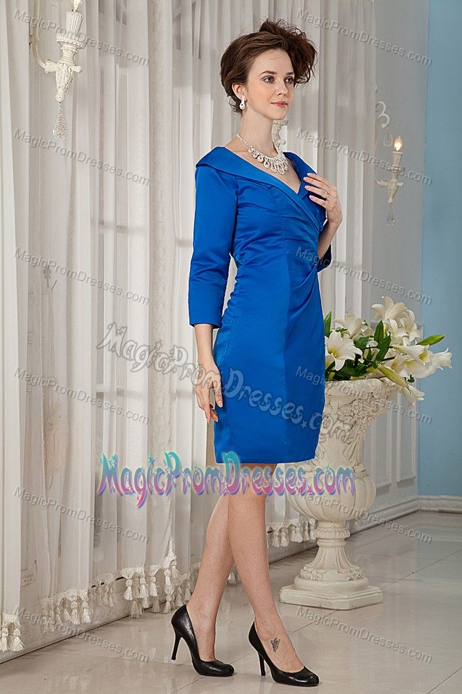 V neck 3 4 sleeves peacock blue short senior prom dress in for Wedding dresses minot nd