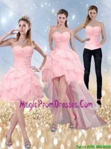 2015 Detachable Sweetheart Baby Pink Prom Dress with Ruffled Layers and Beading