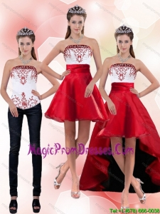 2015 New Style Strapless Knee Length Detachable Prom Skirts with Embroidery