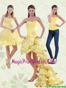 2015 Yellow Sweetheart High Low Detachable Prom Skirts with Beading and Ruffled Layers