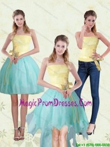Exclusive Strapless High Low 2015 Detachable Prom Skirts with Bowknot