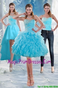 2015 Delicate Sweetheart Baby Blue Detachable Prom Skirts with Appliques and Ruffles