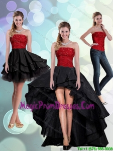 2015 Discount Strapless Beading Prom Dresses in Red and Black
