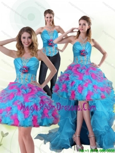 2015 Luxurious Strapless Appliques Prom Dresses with Hand Made Flower
