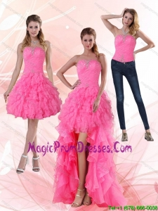 2015 Most Popular Strapless Detachable Prom Skirts with Beading and Ruffled Layers
