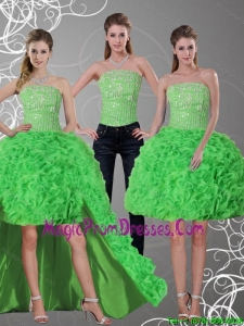 2015 New Style Spring Green Strapless Detachable Prom Skirts with Beading and Ruffles