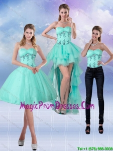 2015 New Style Sweetheart Apple Green Detachable Prom Skirts with Appliques