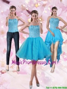 2015 Puffy Aqua Blue Strapless Short Detachable Prom Skirts with Beading