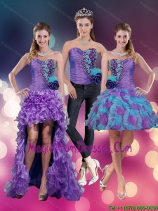 2015 Spring Sweetheart Beading Multi Color Prom Dresses with Hand Made Flower