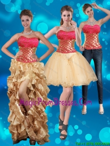 2015 Strapless Multi Color Prom Dresses with Beading and Embroidery