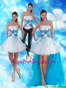 2015 Strapless White and Blue Detachable Prom Skirts with Appliques and Beading