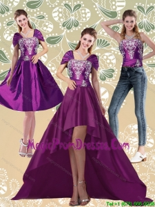 Classical High Low Embroidery Dark Purple Prom Dresses for 2015