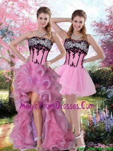 Cute Embroidery 2015 Knee Length Detachable Prom Skirts in Multi Color