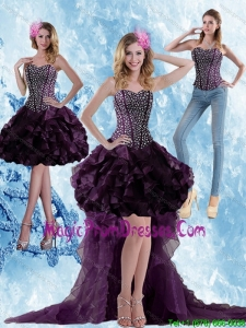 Elegant High Low Dark Purple Detachable Prom Skirts with Ruffled Layers and Beading