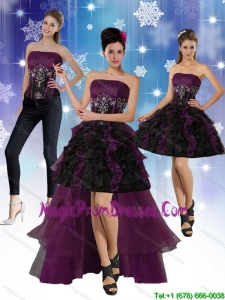 High Low Strapless 2015 Detachable Prom Skirtswith Ruffles and Embroidery
