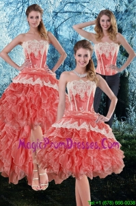Inexpensive 2015 Appliques and Ruffles Strapless Detachable Prom Skirts in Watermelon