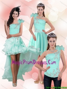 Modest Apple Green One Shoulder Detachable Prom Skirts with Beading for 2015