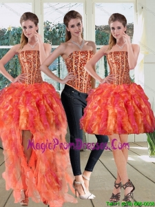 Modest Strapless Multi Color 2015 Prom Dresses with Beading and Ruffles
