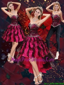 New Style Multi Color High Low Sweetheart Detachable Prom Skirts with Beading and Ruffles