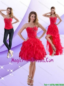 Perfect Strapless Red 2015 Detachable Prom Skirts with Ruffles and Beading