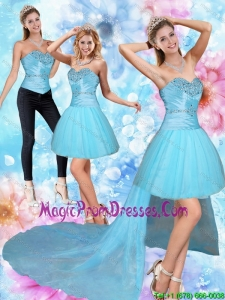 Unique High Low Sweetheart Beading Detachable Prom Skirts in Baby Blue