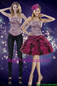 2015 Popular Ruffles and Leopard Detachable Prom Skirts in Multi Color