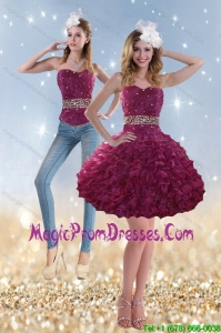 2015 Romantic Beading and Ruffles Detachable Prom Skirts in Wine Red
