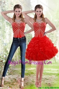 Wonderful 2015 Red Detachable Prom Skirts with Beading and Ruffles