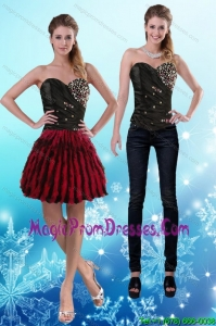 2015 Flirting Sweetheart Multi Color Detachable Prom Skirts with Beading and Ruffles