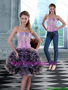 2015 Luxurious Strapless Detachable Prom Skirts with Appliques and Ruffles