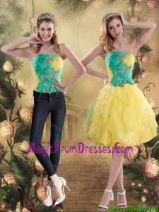Elegant 2015 Strapless Knee Length Multi Color Detachable Prom Skirts with Appliques