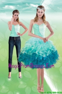 Elegant Sweetheart Multi Color 2015 Prom Dress with Beading and Ruffles