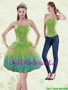 Exclusive 2015 Sweetheart Multi Color Detachable Prom Skirtswith Beading and Ruffles