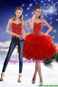 Luxurious 2015 Sweetheart Red Detachable Prom Skirts with Beading and Ruffles