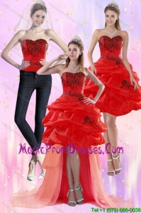 Luxurious Red Strapless 2015 Detachable Prom Skirts with Appliques and Pick Ups