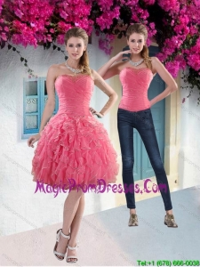 Pretty 2015 Strapless Watermelon Prom Dress with Beading and Ruffles