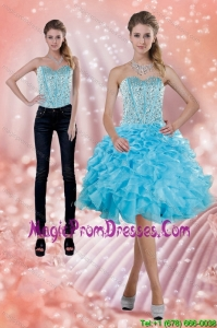 2015 Fitting Baby Blue Detachable Prom Skirtswith Beading and Ruffles