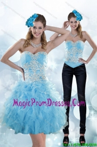 Exclusive Appliques and Ruffles Sweetheart Aqua Blue Detachable Prom Skirts for 2015