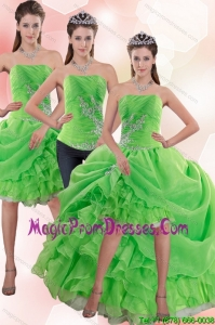 Exclusive Strapless Spring Green Detachable Prom Skirts with Appliques and Ruffles