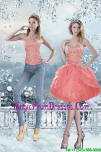 Fashionable 2015 Sweetheart Knee Length Detachable Prom Skirts with Beading