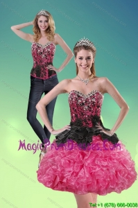 Fashionable 2015 Sweetheart Multi Color Detachable Prom Skirts with Ruffles and Beading