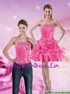 Gorgeous 2015 Strapless Hot Pink Detachable Prom Skirts with Beading and Ruffles